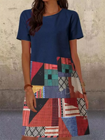Navy Blue Geometric A-Line Short Sleeve Dresses