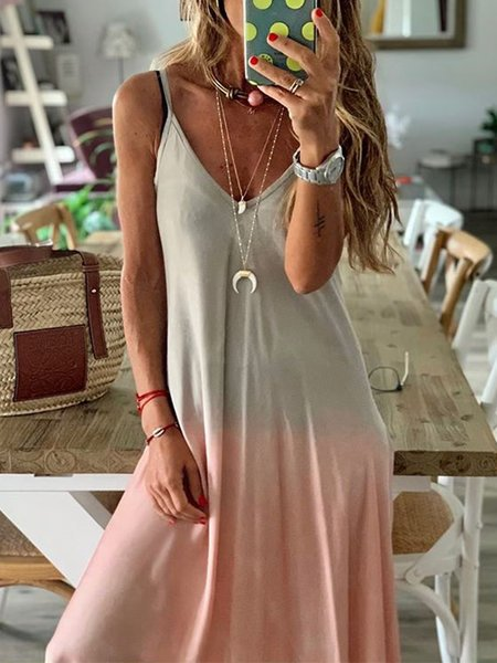 Multicolor Casual V Neck Shift Dresses