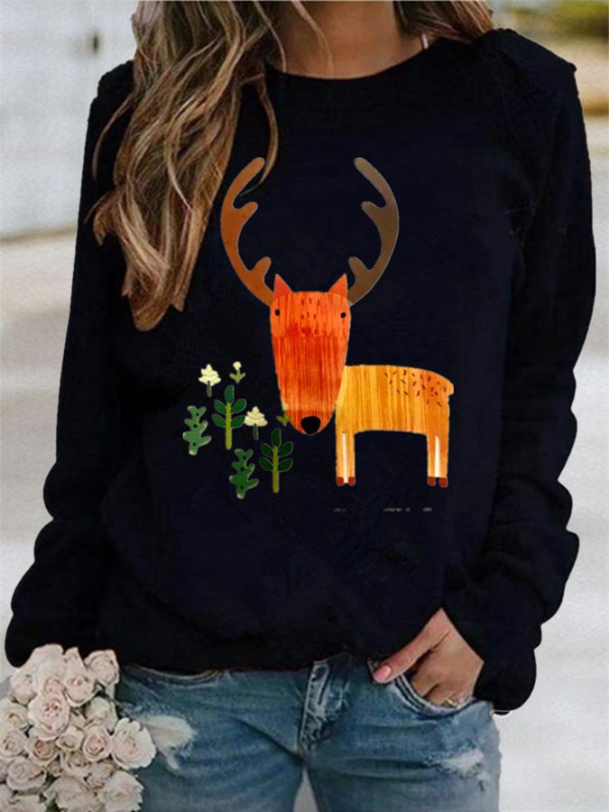Abstract Casual Crew Neck Shift Sweatshirt