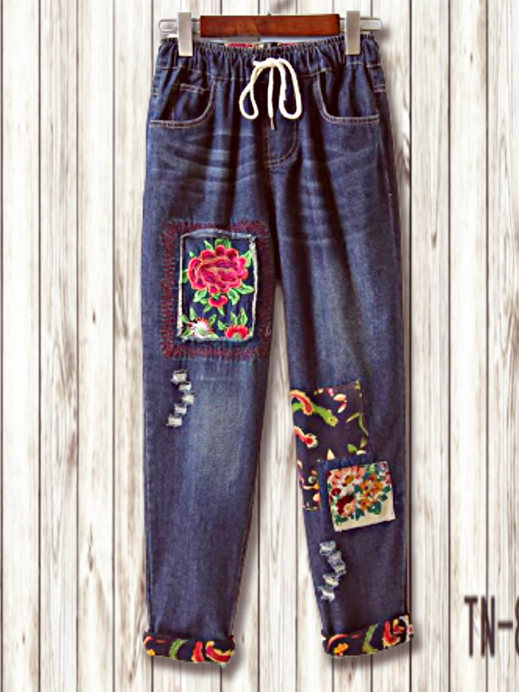 Blue Tribal Denim Boho Embroidered Pants