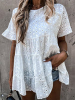 White Linen Short Sleeve Dresses