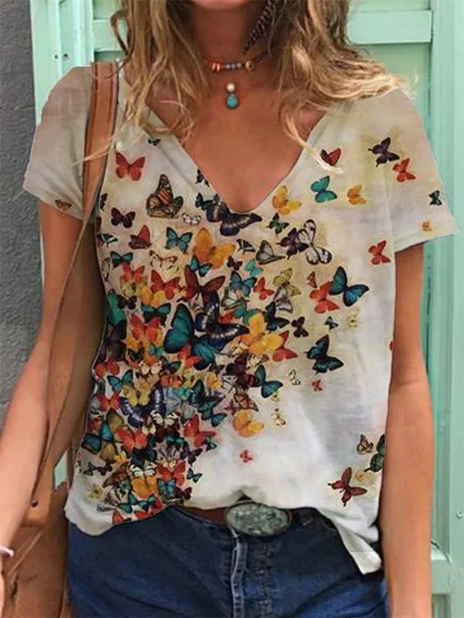 Bufferfly Printed Shift Holiday Short Sleeve V Neck Shirts & Tops
