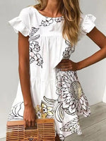 White Floral Printed Short Sleeve Shift Dresses