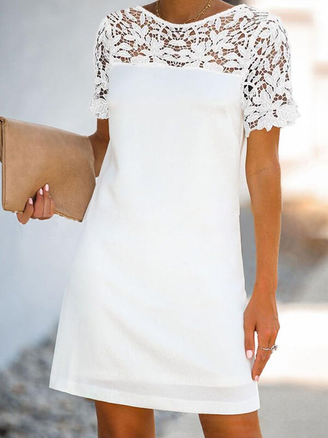 White Short Sleeve Shift Crew Neck Dress