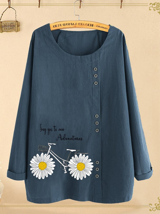 Letters Floral Bike Printed Button O-neck Long Sleeve Blouse