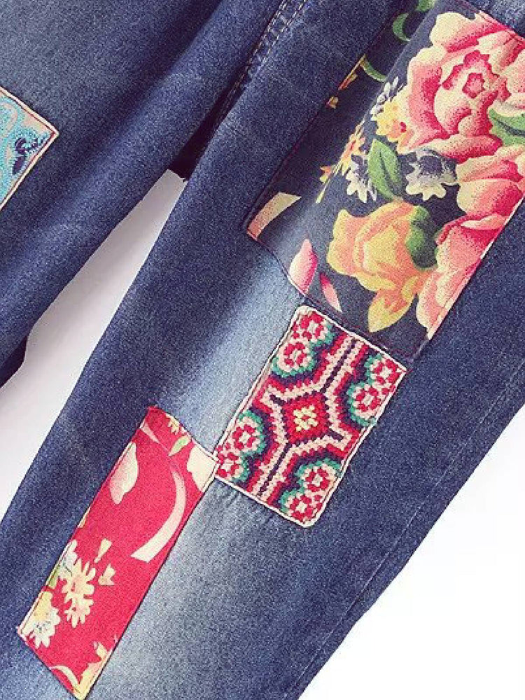Blue Shift Floral Embroidered Vintage Pants