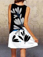 Black-White Sleeveless Printed Dresses