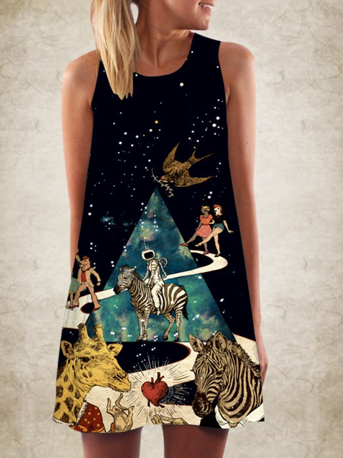 Black Boho Animal A-Line Dresses