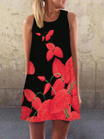 Red Casual Floral Crew Neck A-Line Dresses