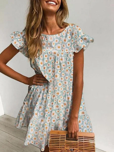 Aqua Shift Floral Frill Sleeve Dress