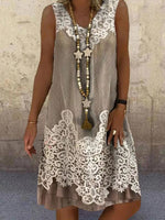 Crew Neck Lace Shift Sleeveless Holiday Dresses