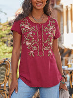 Wine Red Floral Short Sleeve Embroidery Shirts & Tops