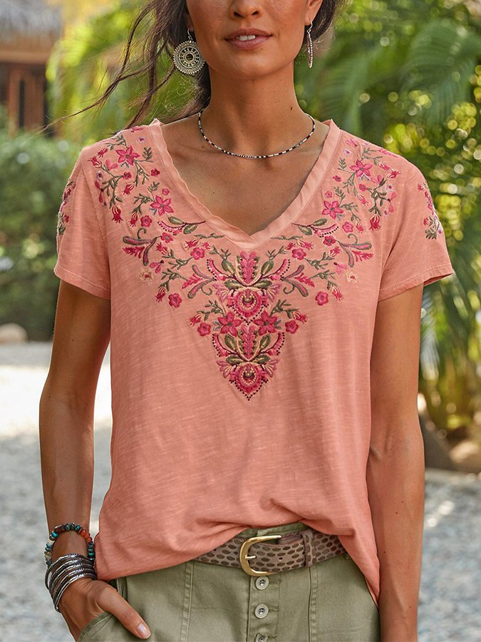 Pink Cotton Floral Short Sleeve Shirts & Tops