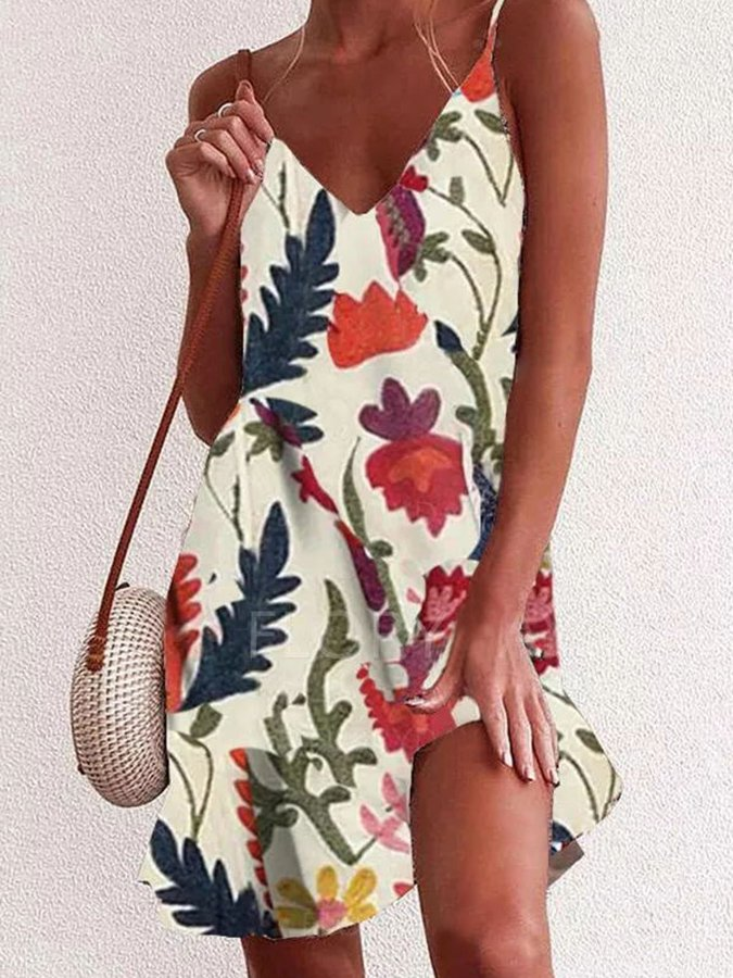 Beige Floral Casual Printed Dress