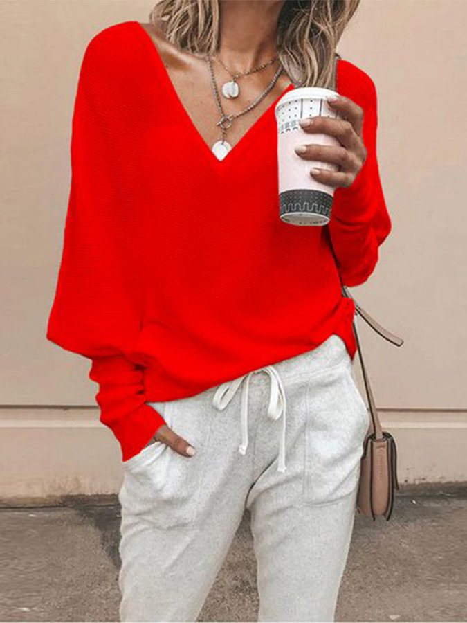 Casual Top V-Neck Drop Sleeves