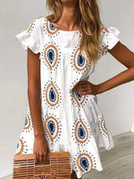 White Printed Shift Crew Neck Holiday Dresses