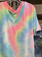 Pink Ombre/tie-Dye V Neck Short Sleeve Printed Shirts & Tops