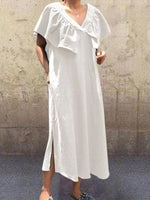 V Neck Casual Cape Sleeve Shift Dress