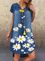 Floral Denim Short Sleeve Dresses