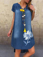 Floral Shift Holiday Short Sleeve Dresses