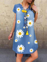 V Neck Floral Printed Shift Short Sleeve Casual Dresses
