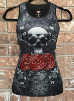 Black Sleeveless Statement Printed Shirts & Tops