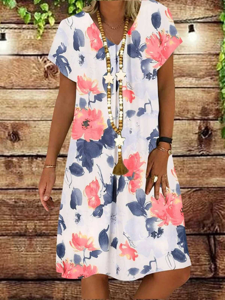 V Neck Floral Short Sleeve Printed Dresses