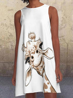 White Giraffe Printed Pockets Crew Neck Sleeveless A-line Dresses