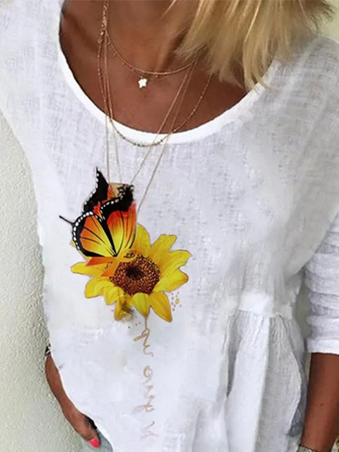 White Short Sleeve Floral Shirts & Tops