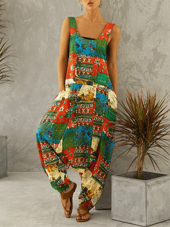 Vintage Print Drop Crotch Straps Plus Size Jumpsuit with Pockets