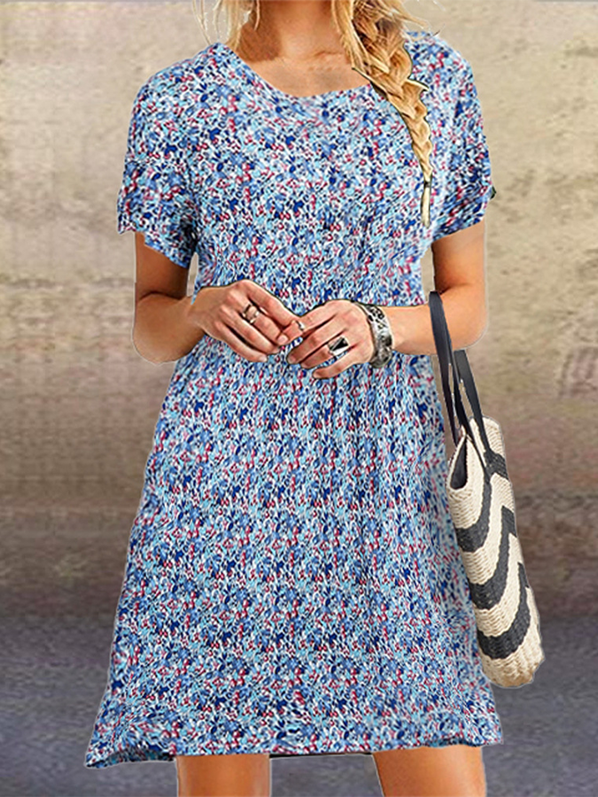 Crew Neck Floral Short Sleeve Vintage Dresses