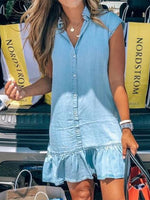 Lightblue Short Sleeve Denim Dresses