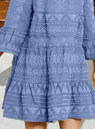 Blue Casual A-Line V Neck Dresses