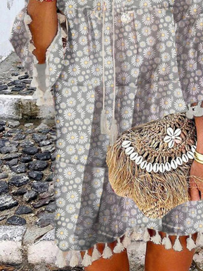Gray Printed Floral Tassel Shift Boho Dresses