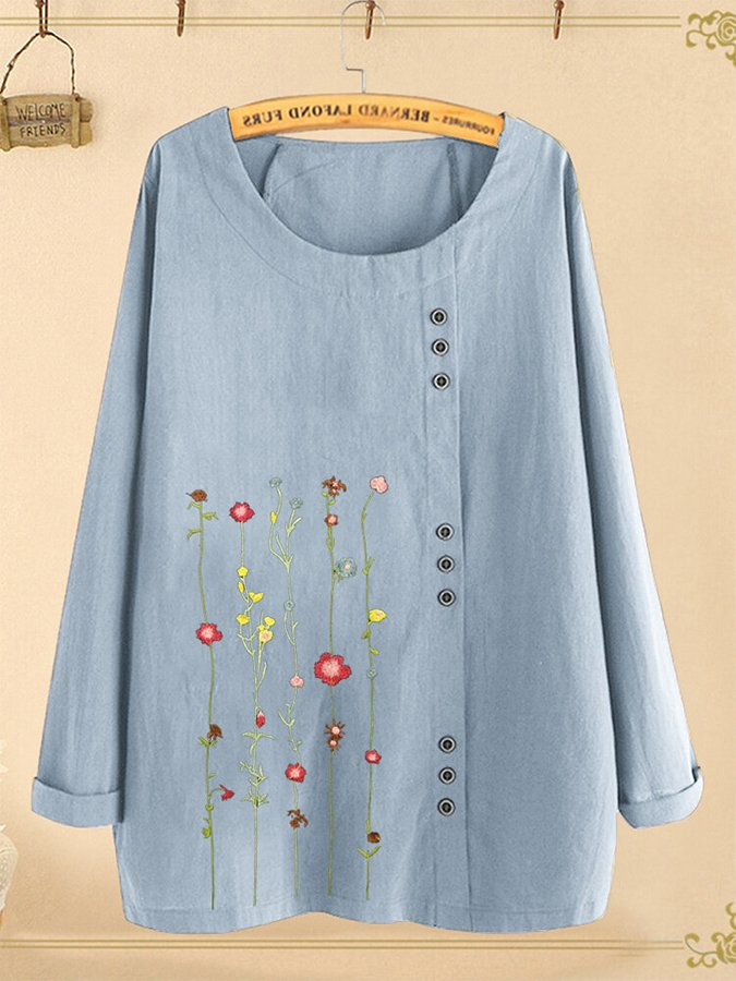 Floral Embroidery Button O-neck Long Sleeve Blouse