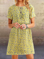 Short Sleeve Floral Holiday A-Line Dresses