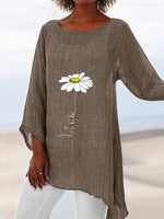 Khaki Floral Shift Long Sleeve Printed Shirts & Tops
