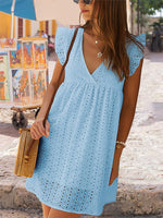 V Neck A-Line Cotton Holiday Dresses
