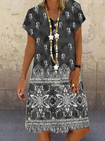 Tribal Cotton Short Sleeve V Neck Dresses