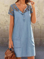 Blue Denim Lace Paneled Crew Neck Shift Casual Short Sleeve Dresses