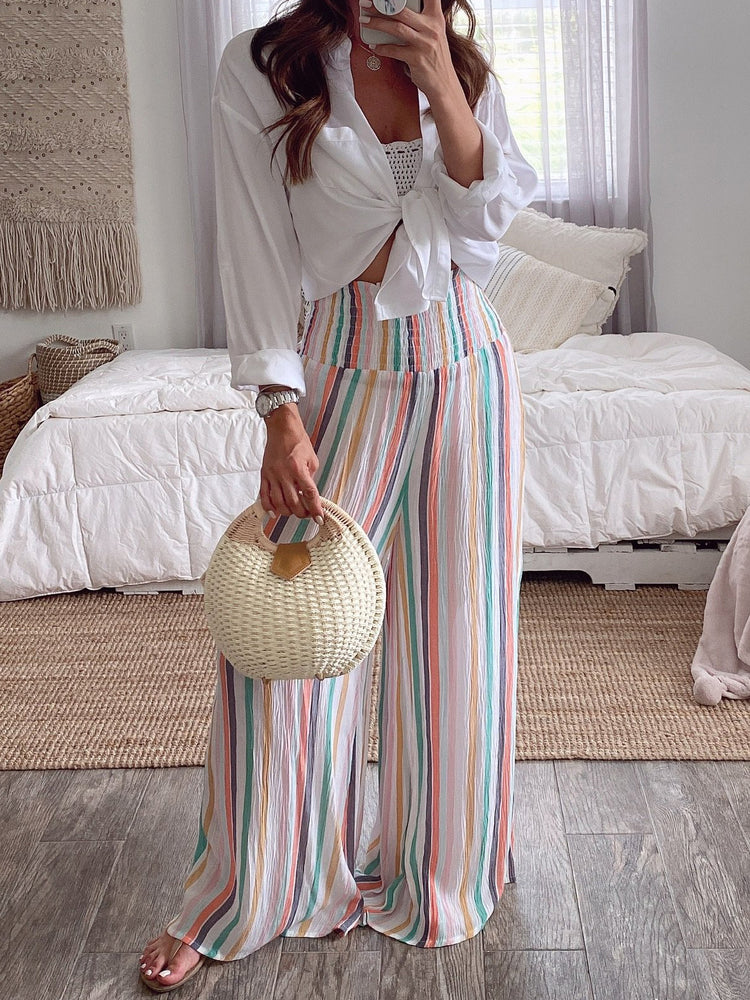 Casual Striped Shift Pants