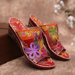 Women Vintage Flower Slip On Open Toe Wedge Sandals