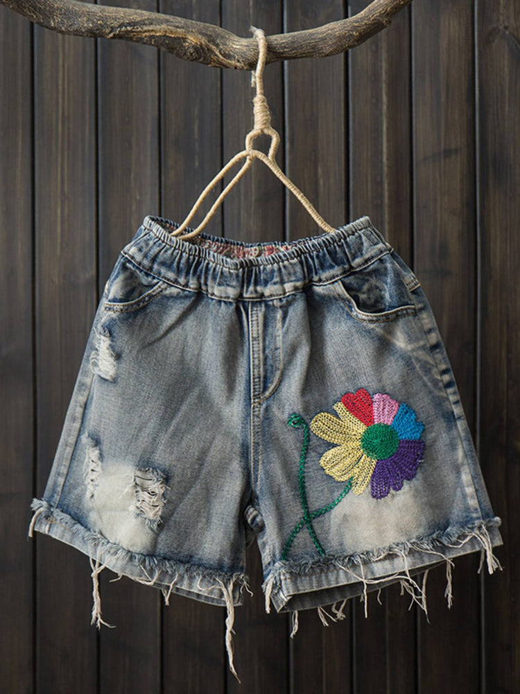 Floral Embroidered Denim Pants