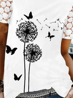 Lace Stitching Short Sleeve Casual Loose T-shirt