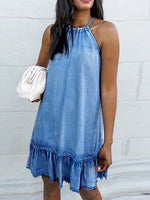 Lightblue Casual Halter Sleeveless Denim Dresses