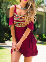 Burgundy Printed Spaghetti Tribal Casual Dress
