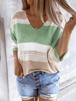 Color-Block Shift 3/4 Sleeve Sweater