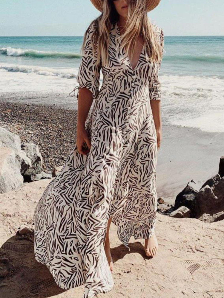 Khaki Long Sleeve Printed Dress