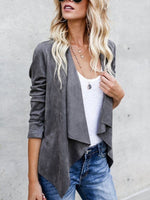 Long Sleeve Casual Shift Faux Suede Jacket
