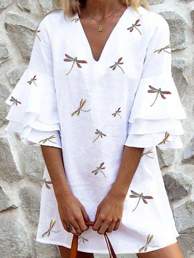 Frill Sleeve Animal Printed V Neck Dress